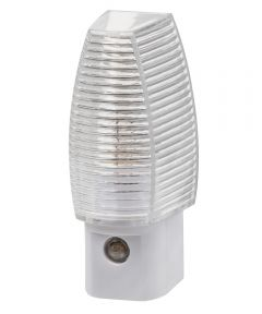 "3.355"" X 1.375"" X 2.25"" White Clear Prism Night Light, Auto On/Off"