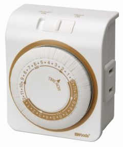 24 Hour 2 Outlet White Indoor Mechanical Outlet Timer