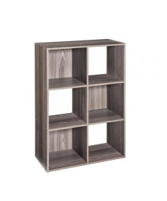 Stackable 6 Cube Organizer Shelf, Gray