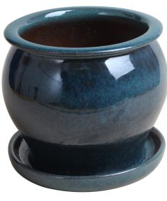 4 in. Blue Ceramic Studio Pot with Attached Saucer