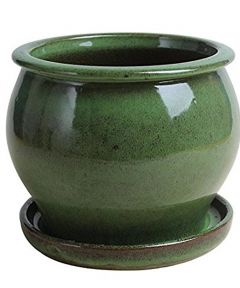 4 in. Green Ceramic Studio Pot with Attached Saucer