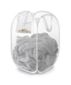 "17"" X 17"" X 15"" White Mesh Pop & Fold Laundry Basket"