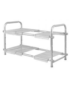 """22.5"""" Silver Cabrini 2-Tier Under Sink Organizer With Expandable Shelf"""