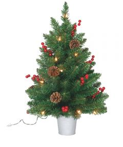 Santa's Forest 2 ft. Artificial Prelit Christmas Tree in Bucket