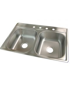 "33"" X 22"" X 7"" Satin Stainless Steel 4 Hole Sink"