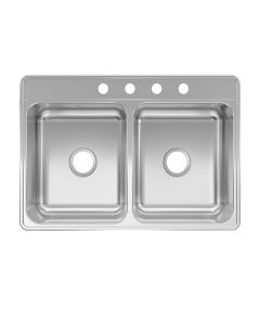 Kindred Creemore 33 in. x 22 in. x 7 in. Stainless Steel 4-Hole Top Mount Drop-In Double Bowl Kitchen Sink