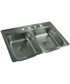 "33"" X 22"" X 6"" Satin Stainless Steel 4 Hole Double Sink"