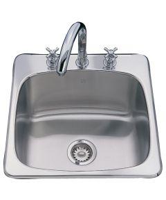 Franke 20-9/16 in. x 20-1/8 in. x 10 in. Stainless Steel 3-Hole Single Bowl Sink