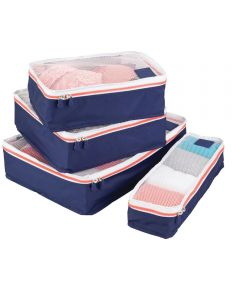 Navy & Orange Aspen Packing Cubes Set Of 4