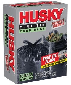 Husky Trash Bag, 39 gal, 3 ft 8 in. (L) x 2 ft 9 in. (W) x 0.9 mil T, Polyethylene Resin, Black