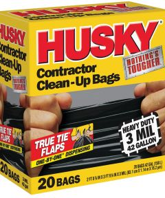 Husky 42 Gallon 3 mil Heavy Duty Contractor Clean-Up Trash Bags, 20 Count