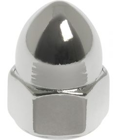 Chrome Metric High Crown Acorn Nuts (M6-1.00), 2 Pieces