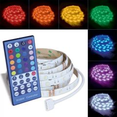 12 ft. RGB Color-Changing Flexible & Cuttable Plug-in LED Strip Tape Light with Remote