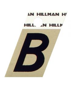 1.5 in. Black and Gold Adhesive Letter B, Angle Cut Aluminum
