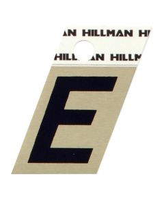 1.5 in. Black and Gold Adhesive Letter E, Angle Cut Aluminum