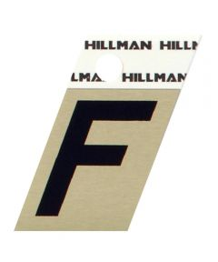 1.5 in. Black and Gold Adhesive Letter F, Angle Cut Aluminum