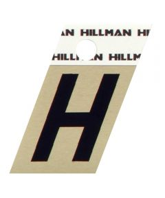 1.5 in. Black and Gold Adhesive Letter H, Angle Cut Aluminum