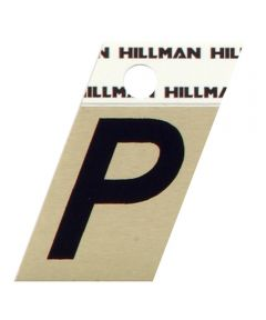 1.5 in. Black and Gold Adhesive Letter P, Angle Cut Aluminum