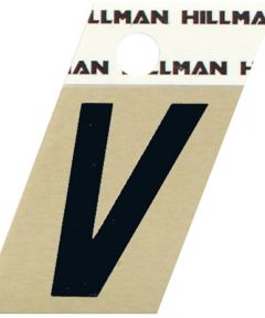 1.5 in. Black and Gold Adhesive Letter V, Angle Cut Aluminum