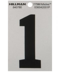 3 in. Black and Silver Reflective Adhesive Number 1