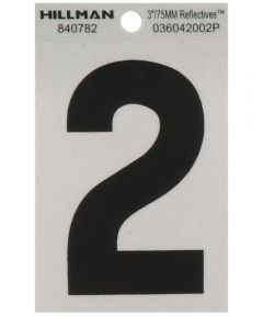 3 in. Black and Silver Reflective Adhesive Number 2