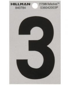 3 in. Black and Silver Reflective Adhesive Number 3