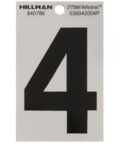 3 in. Black and Silver Reflective Adhesive Number 4
