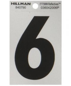 3 in. Black and Silver Reflective Adhesive Number 6