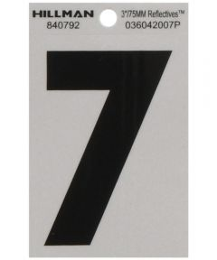 3 in. Black and Silver Reflective Adhesive Number 7