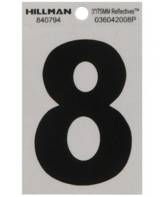 3 in. Black and Silver Reflective Adhesive Number 8