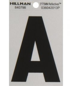 3 in. Black and Silver Reflective Adhesive Letter A