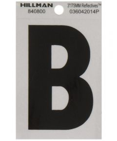 3 in. Black and Silver Reflective Adhesive Letter B