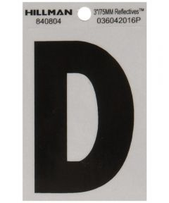 3 in. Black and Silver Reflective Adhesive Letter D