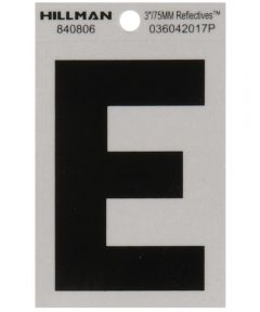 3 in. Black and Silver Reflective Adhesive Letter E