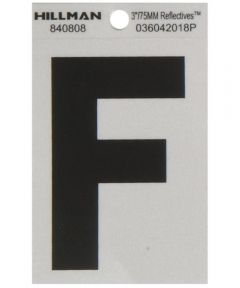 3 in. Black and Silver Reflective Adhesive Letter F