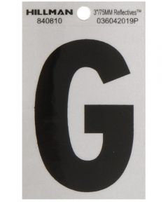 3 in. Black and Silver Reflective Adhesive Letter G