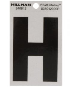 3 in. Black and Silver Reflective Adhesive Letter H
