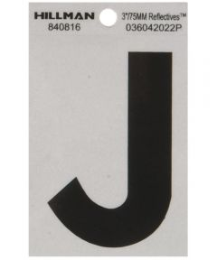 3 in. Black and Silver Reflective Adhesive Letter J