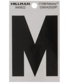 3 in. Black and Silver Reflective Adhesive Letter M