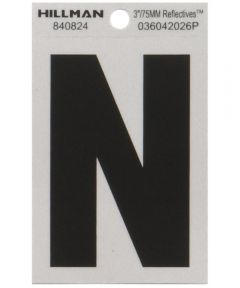 3 in. Black and Silver Reflective Adhesive Letter N
