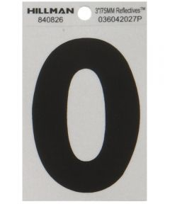 3 in. Black and Silver Reflective Adhesive Letter O