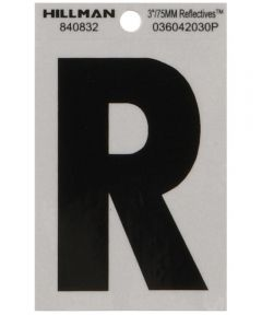3 in. Black and Silver Reflective Adhesive Letter R