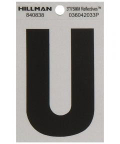 3 in. Black and Silver Reflective Adhesive Letter U