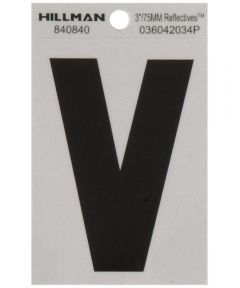 3 in. Black and Silver Reflective Adhesive Letter V
