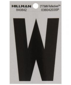 3 in. Black and Silver Reflective Adhesive Letter W