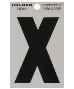 3 in. Black and Silver Reflective Adhesive Letter X