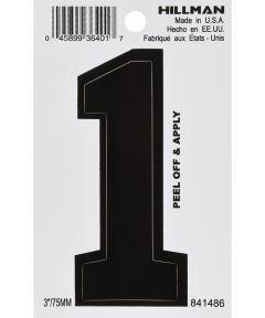3 in. Black Adhesive Number 1