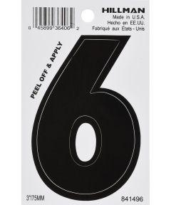 3 in. Black Adhesive Number 6