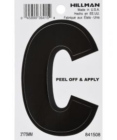 3 in. Black Adhesive Letter C