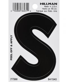 3 in. Black Adhesive Letter S